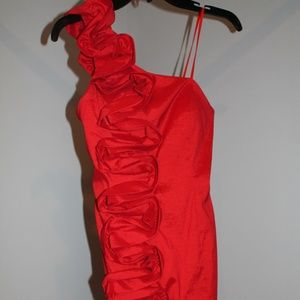 Adrianna Papell Red One Shoulder Ruffle Dress